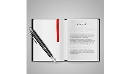Open the book and pen vector