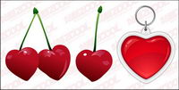 Cherries and heart-shaped key chain vector material